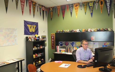 Frank Smith, director of college counseling, works in his office.