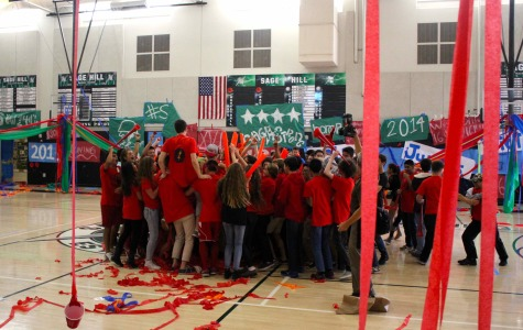 Sophomores celebrate in the Peter V. Ueberroth Gymnasium. In the spring pep rally, they won 2nd place.