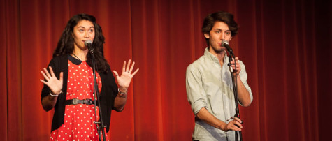 Sarah Kay and Phil Kaye performing a collaborative spoken word poem.