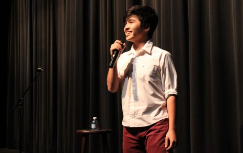 Sophomore Iman Amini makes the audience laugh with his stand-up comedy.