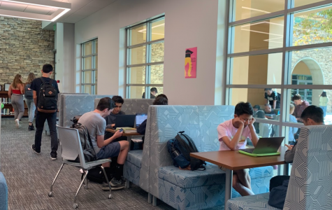 Students busy at work in the new lower library