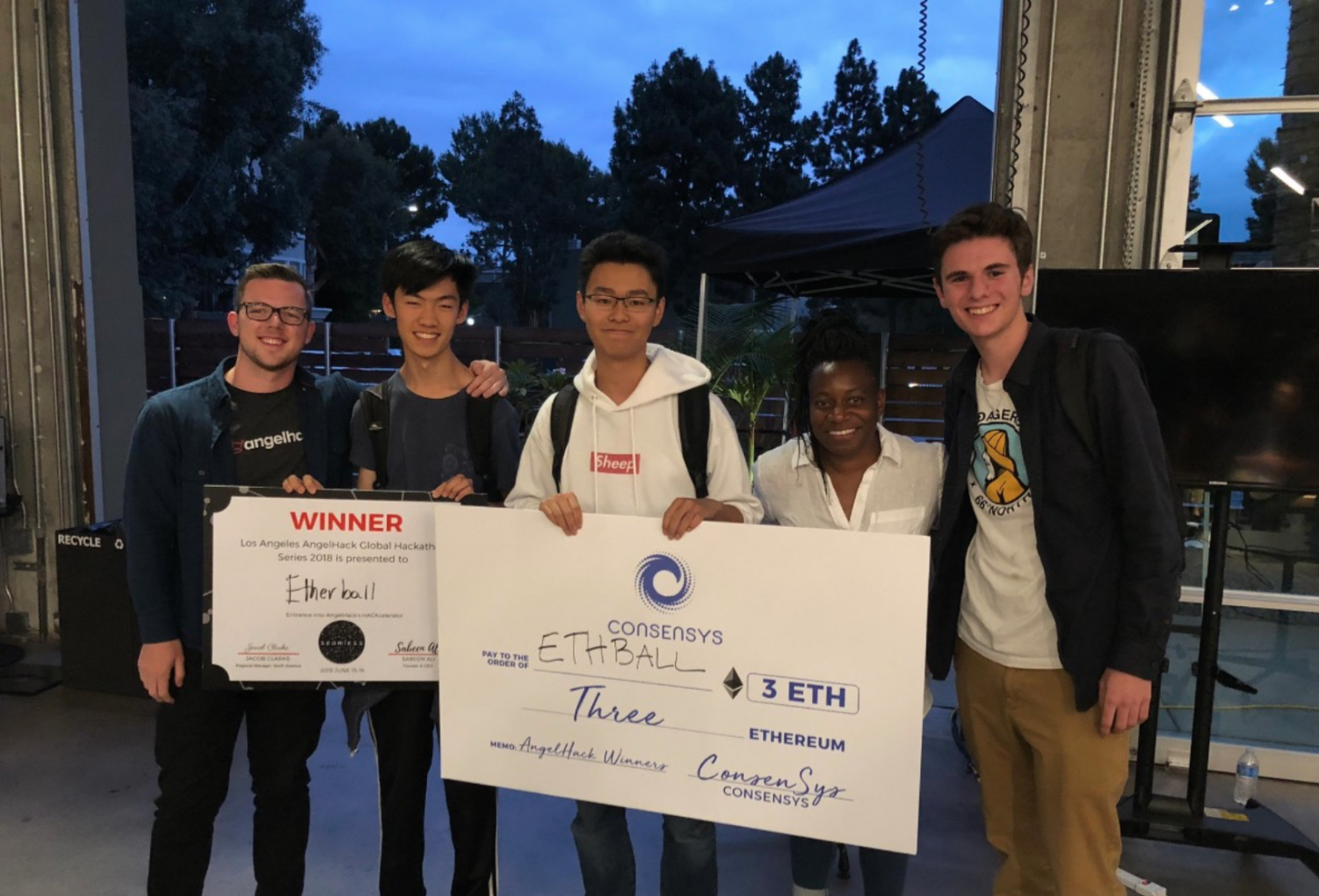 The Dime team won the Los Angeles Hackathon regional, and moved their company forward to the International Competition in November