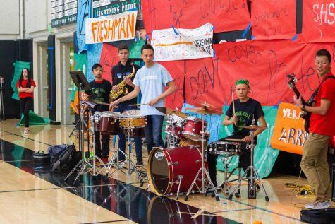 The Sage Hill Jazz band performs before the spring pep rally begins.